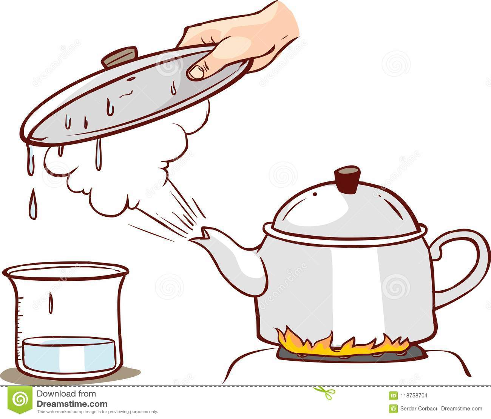 Teapot Clipart Evaporation Water Illustration Stock Vector