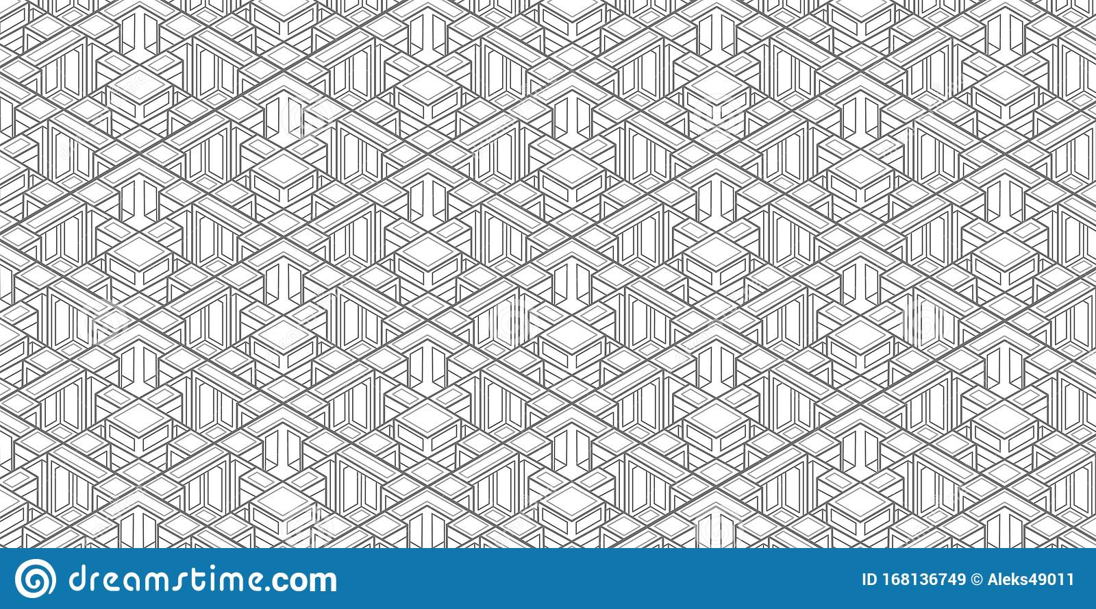 Technical Isometric Drawing Cubes Pattern Isometric