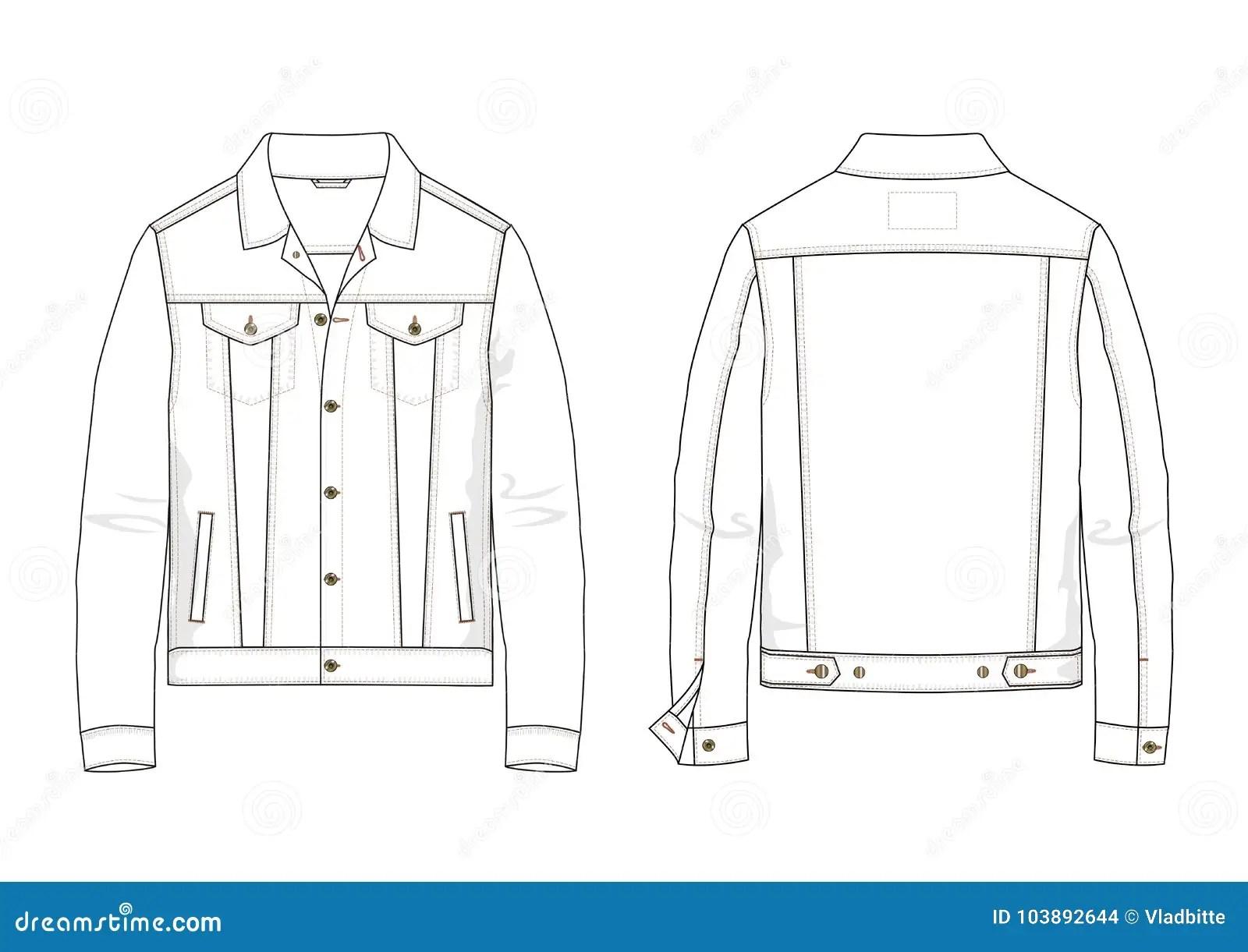 Technical Sketch Of Denim Jacket In Vector Stock Vector