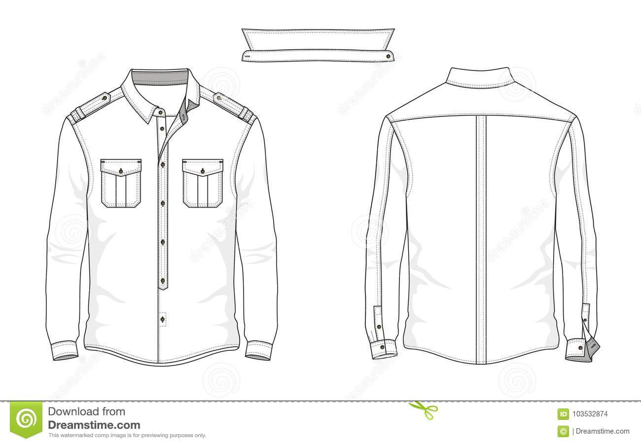 Technical Sketch Man Shirt With Long Sleeve