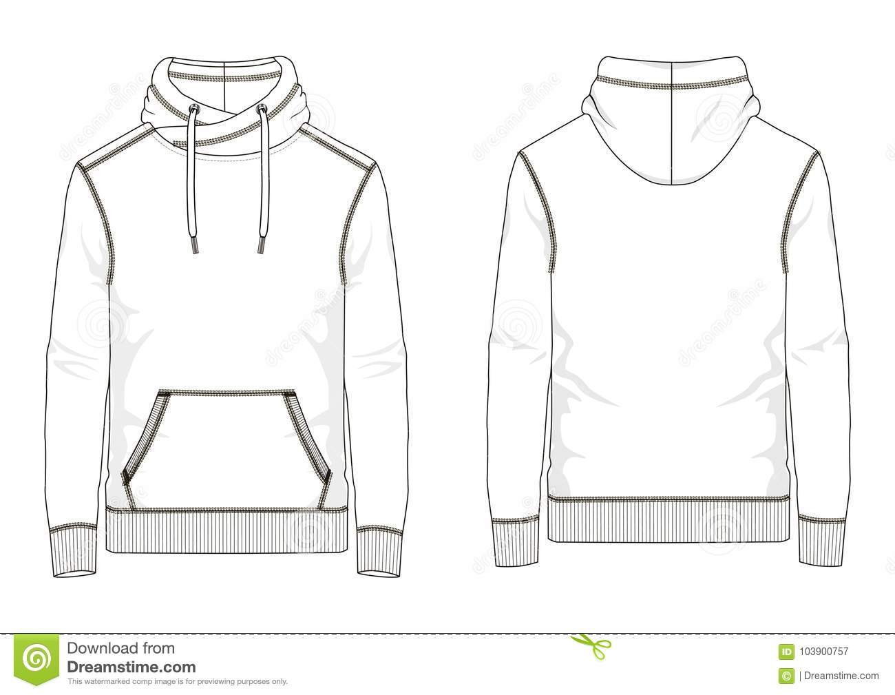 Technical Sketch Of Man Sweatshirt In Vector Stock Vector