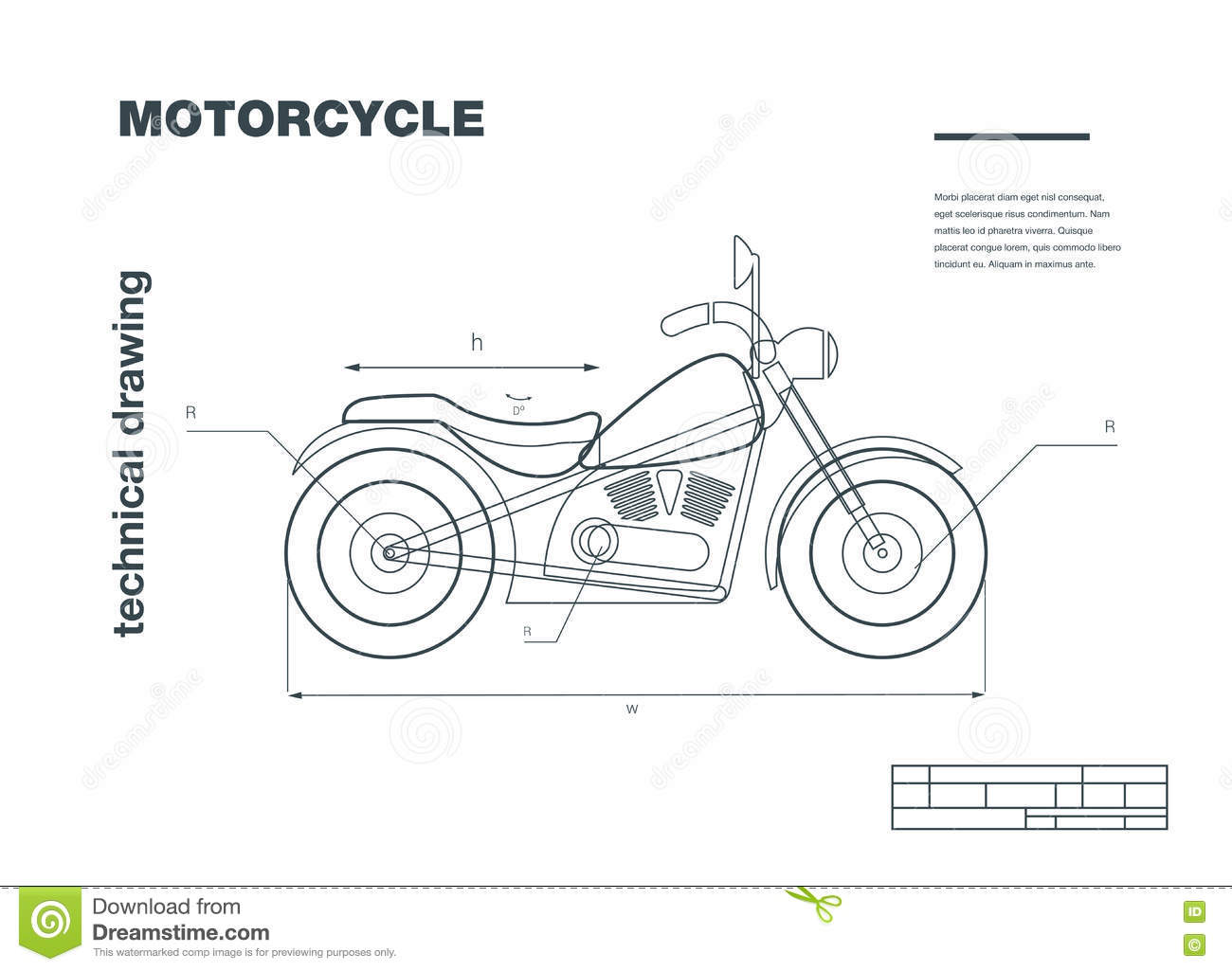 Technical Wireframe Illustration With Motorbike Drawing On