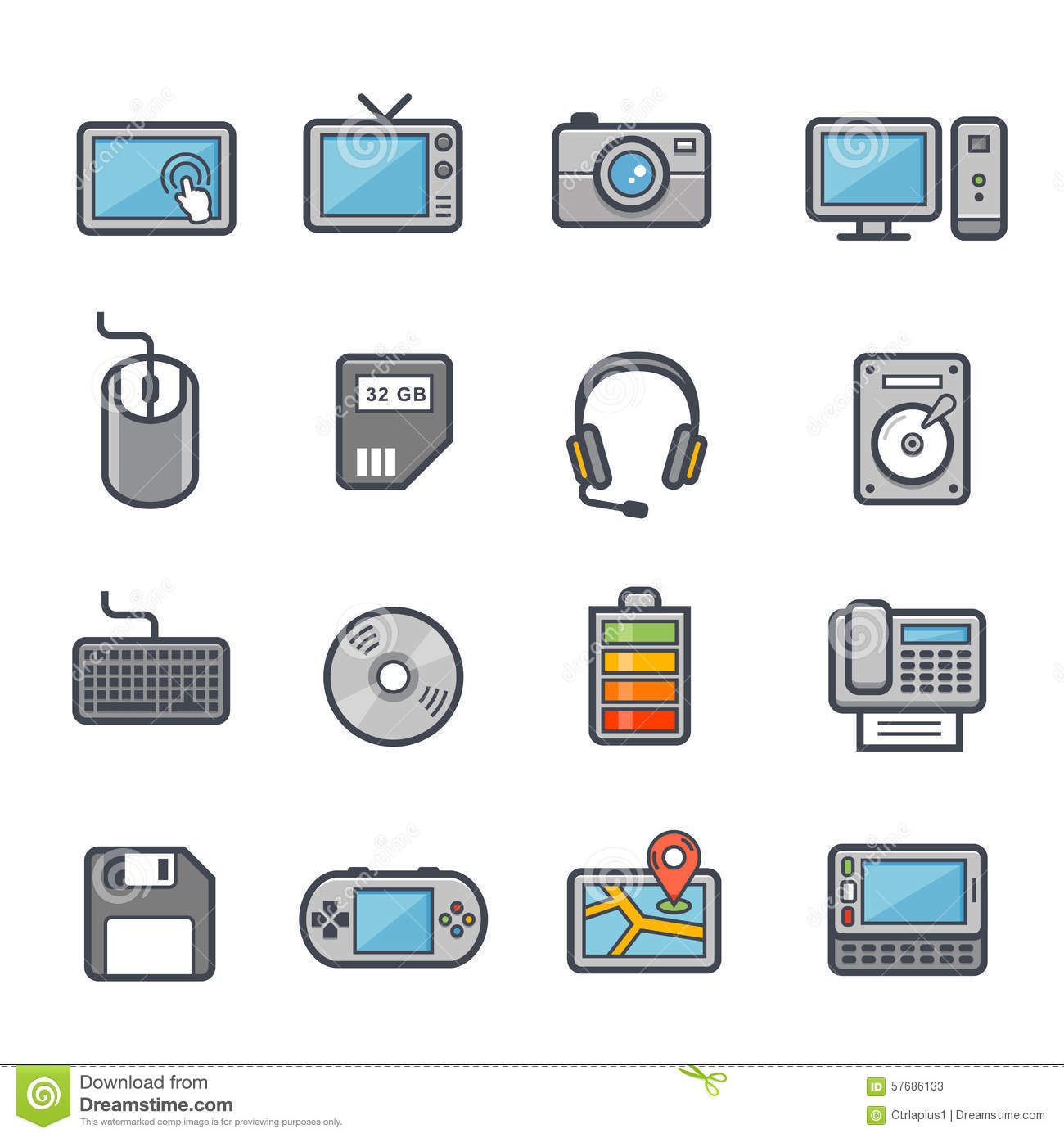 Technology And Devices Icon Bold Stroke With Color Stock