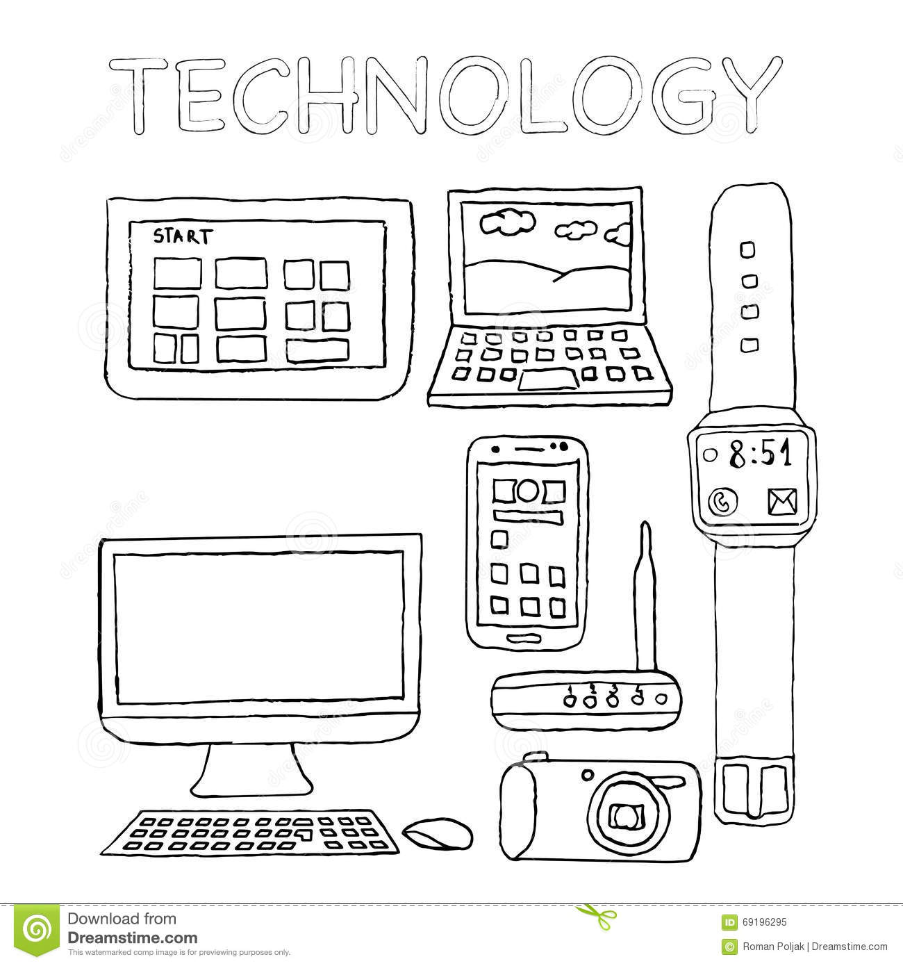 Technology Icons Hand Drawn Digital Camera Wifi Router Lapto Stock Vector