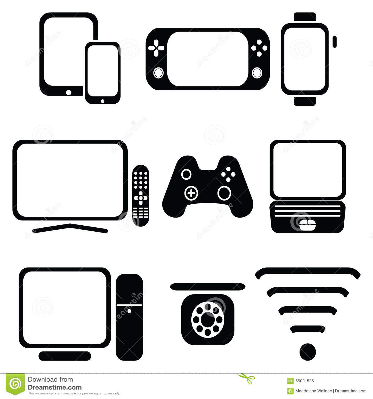 Technology Icons Set With Tablet Mobile Phone Smart