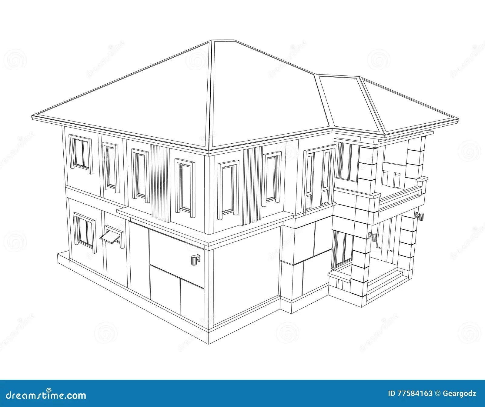 Teckning Av Hem Byggnad 3d Stock Illustrationer