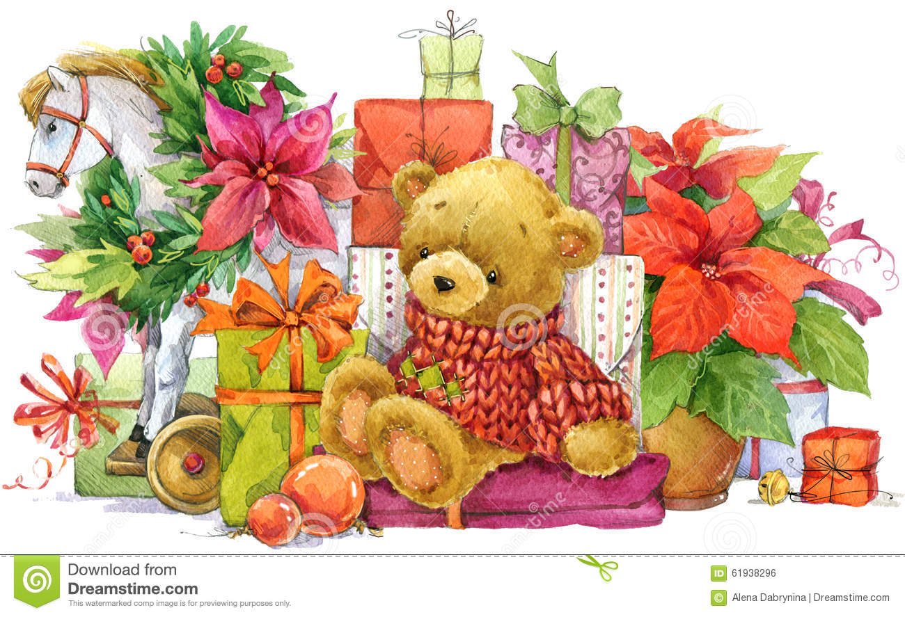 Teddy Bear And Christmas Gifts New Year And Christmas