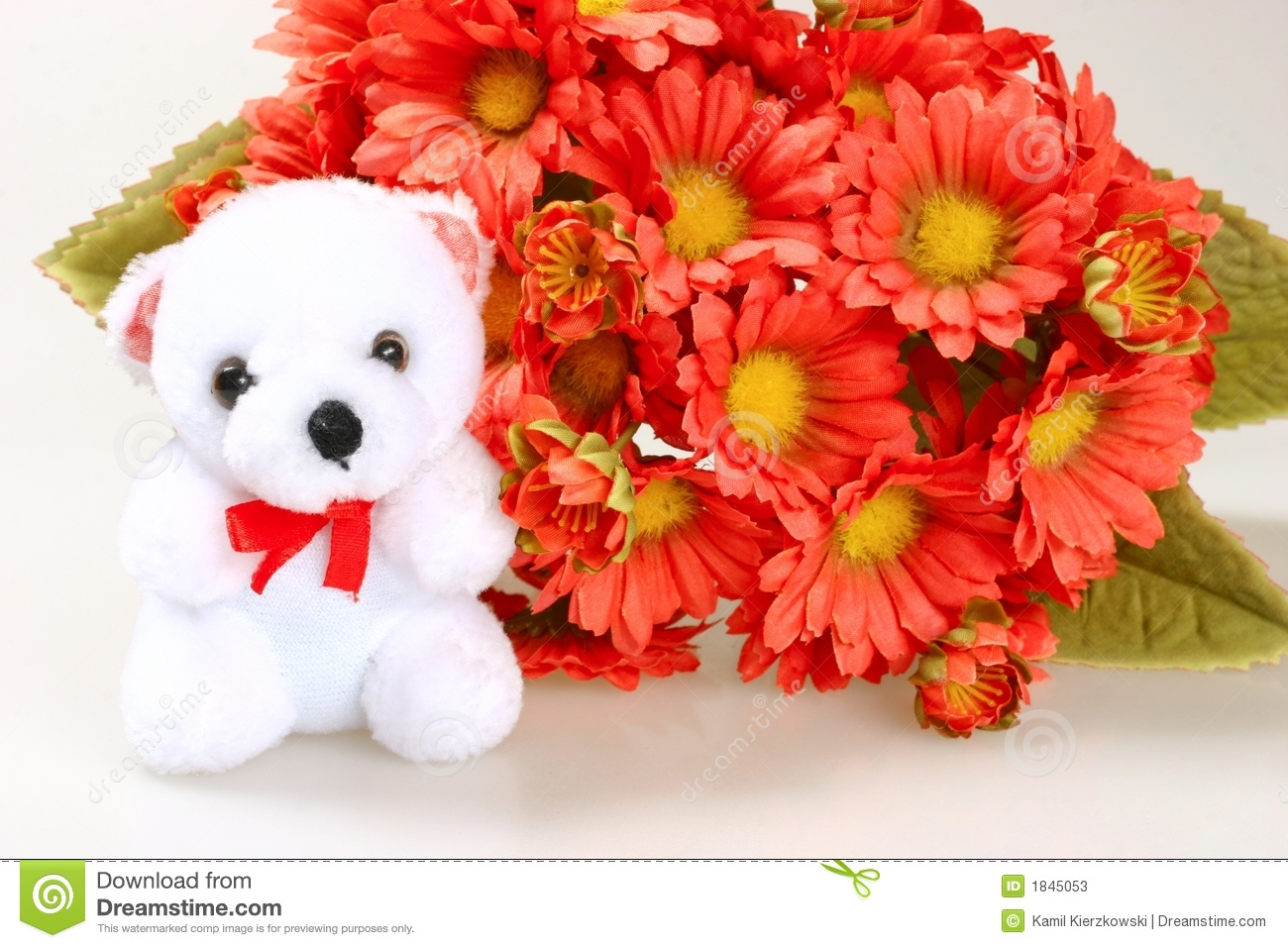 Teddy Bear With Flowers Stock Image. Image Of Present
