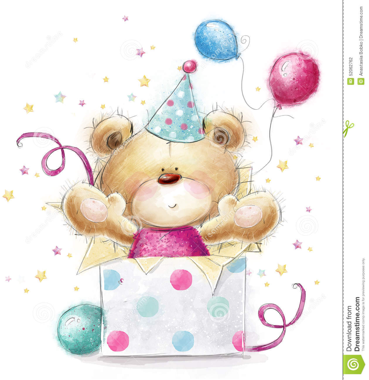 Teddy Bear With The GiftHappy Birthday Card Stock