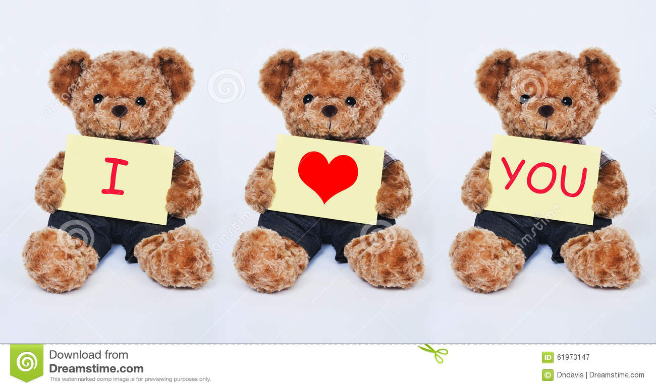 Teddy Bear Holding A Yellow Sign Saying I Love You On