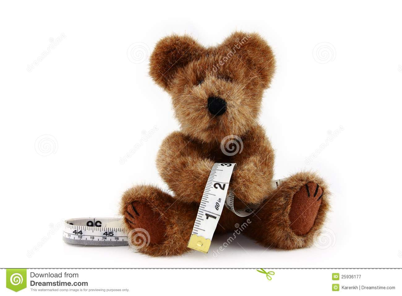 Teddy Bear With Measuring Tape Royalty Free Stock