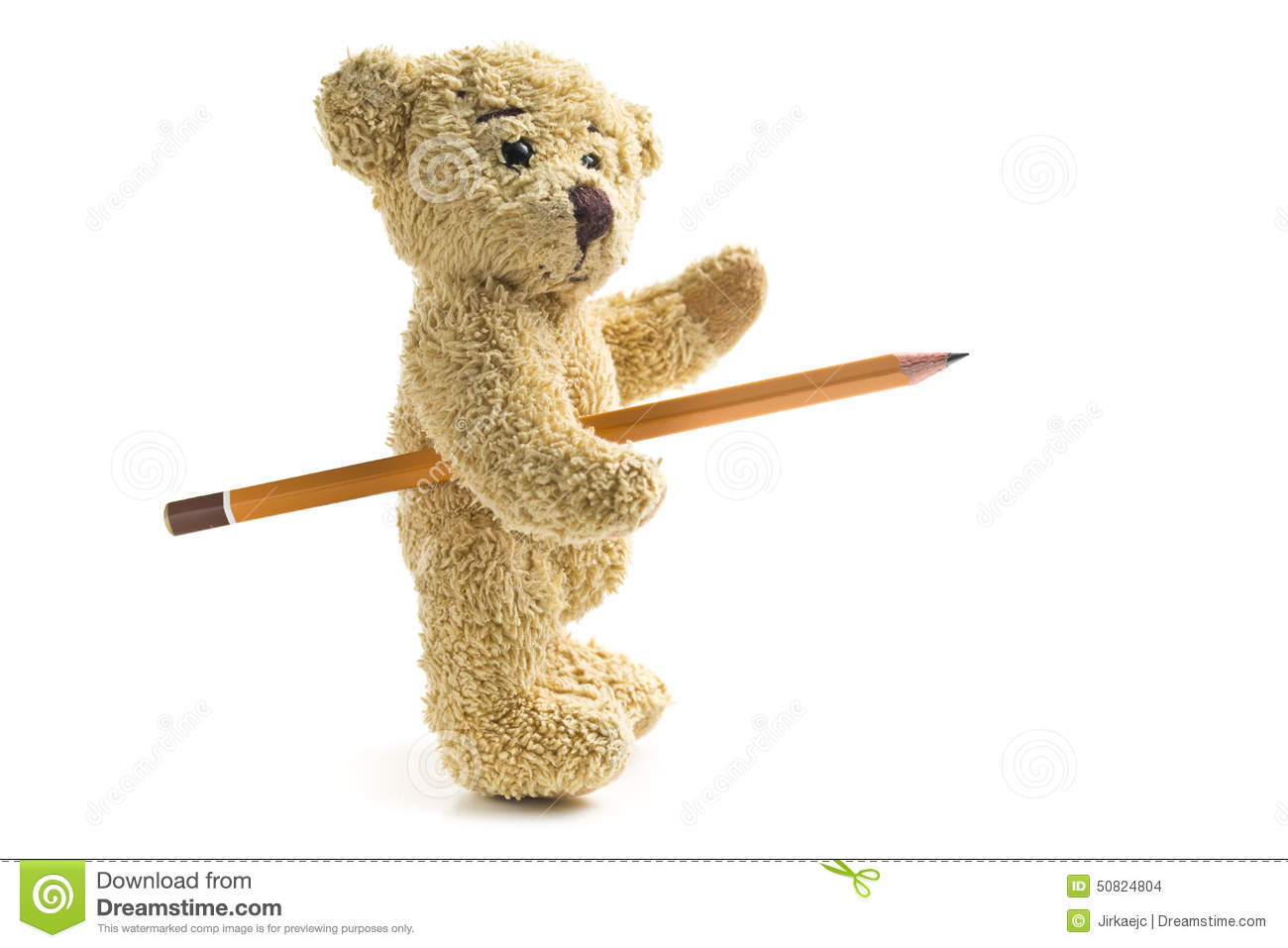 Teddy Bear With Pencil Stock Photo Image Of Single