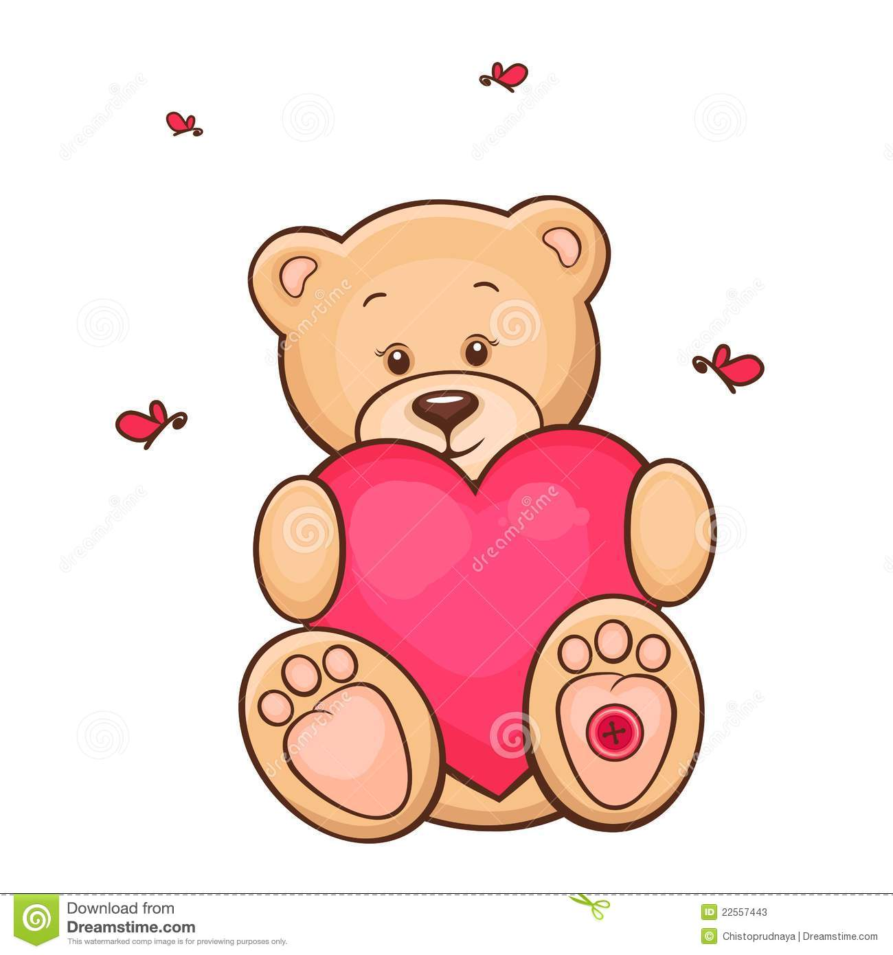 Teddy Bear With Red Heart Stock Illustration Illustration