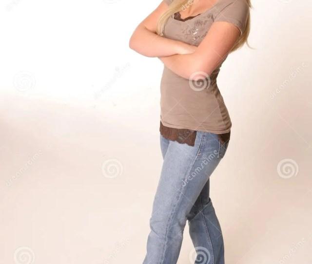 Full Body Shot Of Blonde Teen Jeans