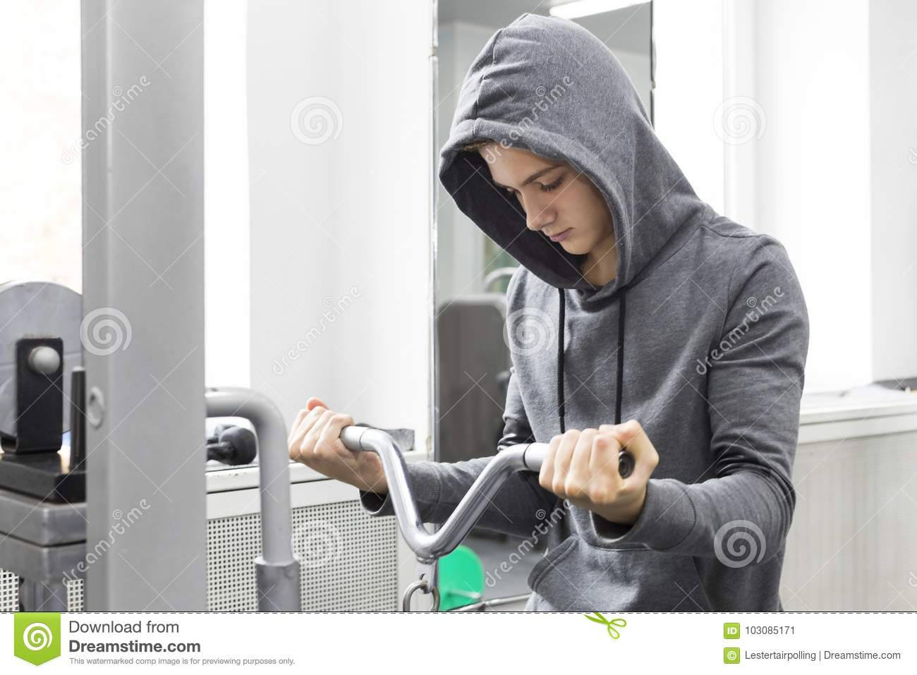 The Teenager Is Engaged In Power Fitness Stock Image