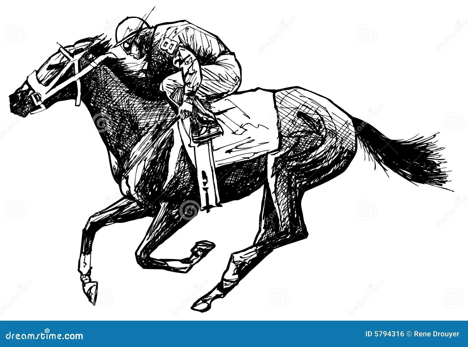 Tekening Van Een Paard En Een Ruiter Vector Illustratie