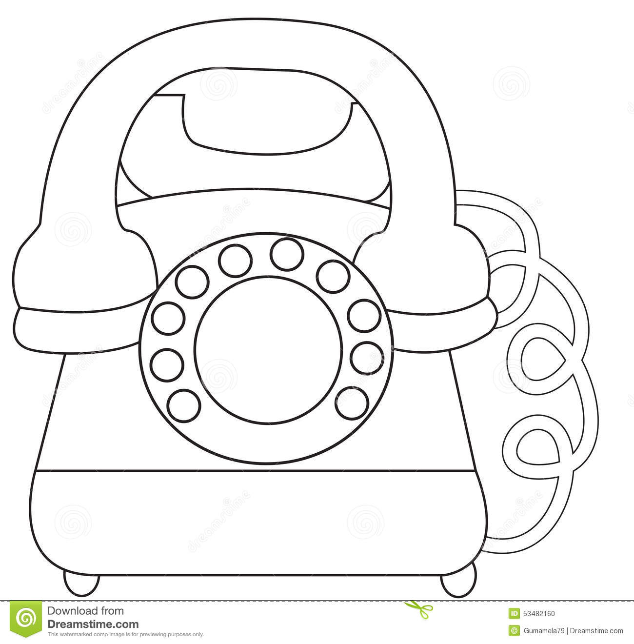 Telephone Coloring Page Stock Illustration Illustration