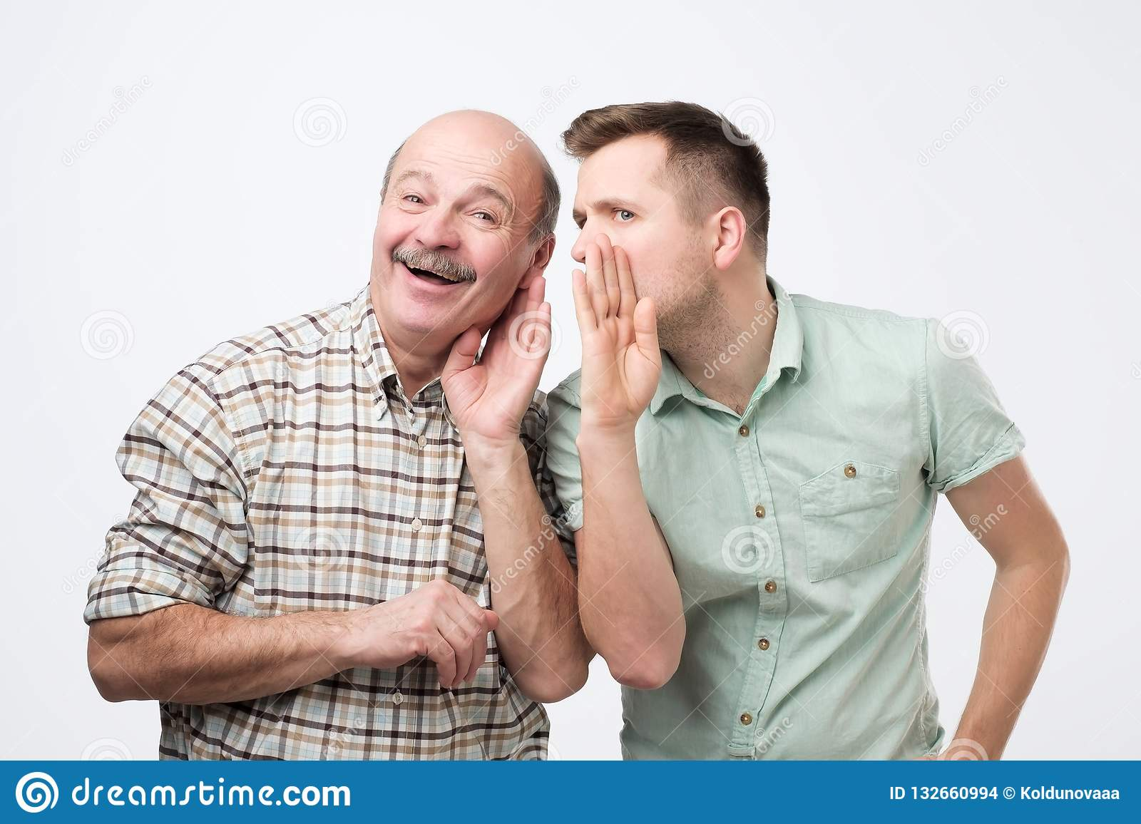 Mature Father Ans Son Having Some Secrets Stock Photo