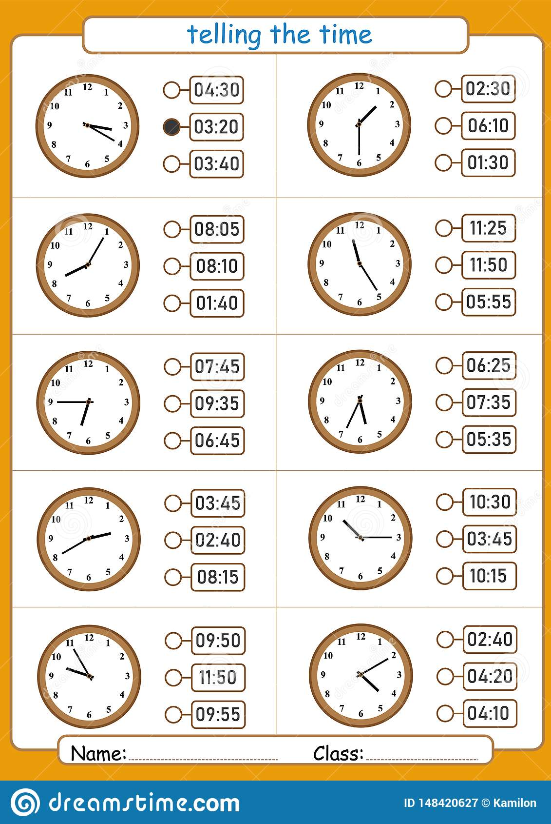 Telling The Time Choose The Correct Time Worksheet For
