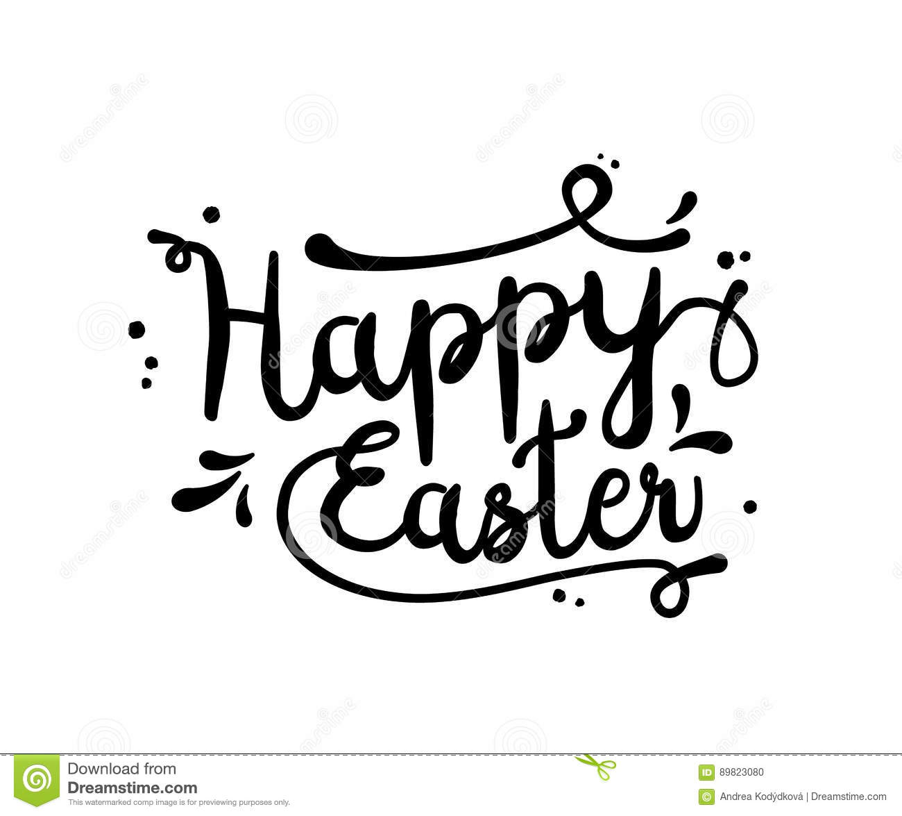 Text Happy Easter Black On White Illustration Stock