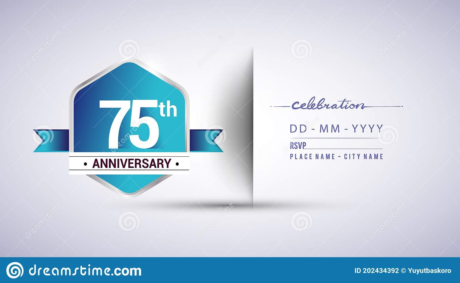 75th anniversary invitation card for birthday celebration isolated in blue hexagon shape vector design stock vector illustration of hexagonal party 202434392