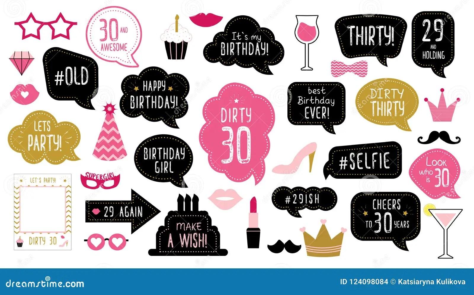 Happy 30th Birthday Vector Illustration Cartoondealer
