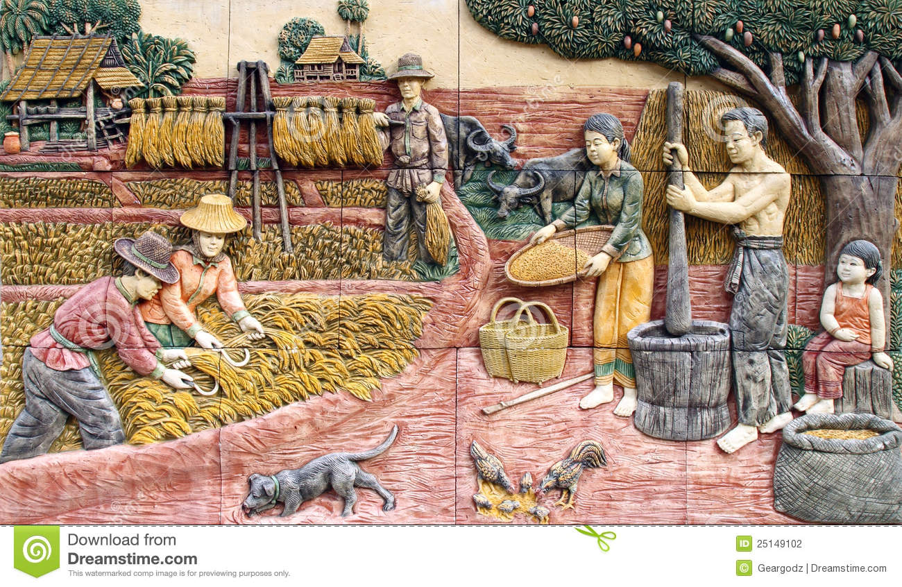 thai farmer village, art on the wall stock photography - image