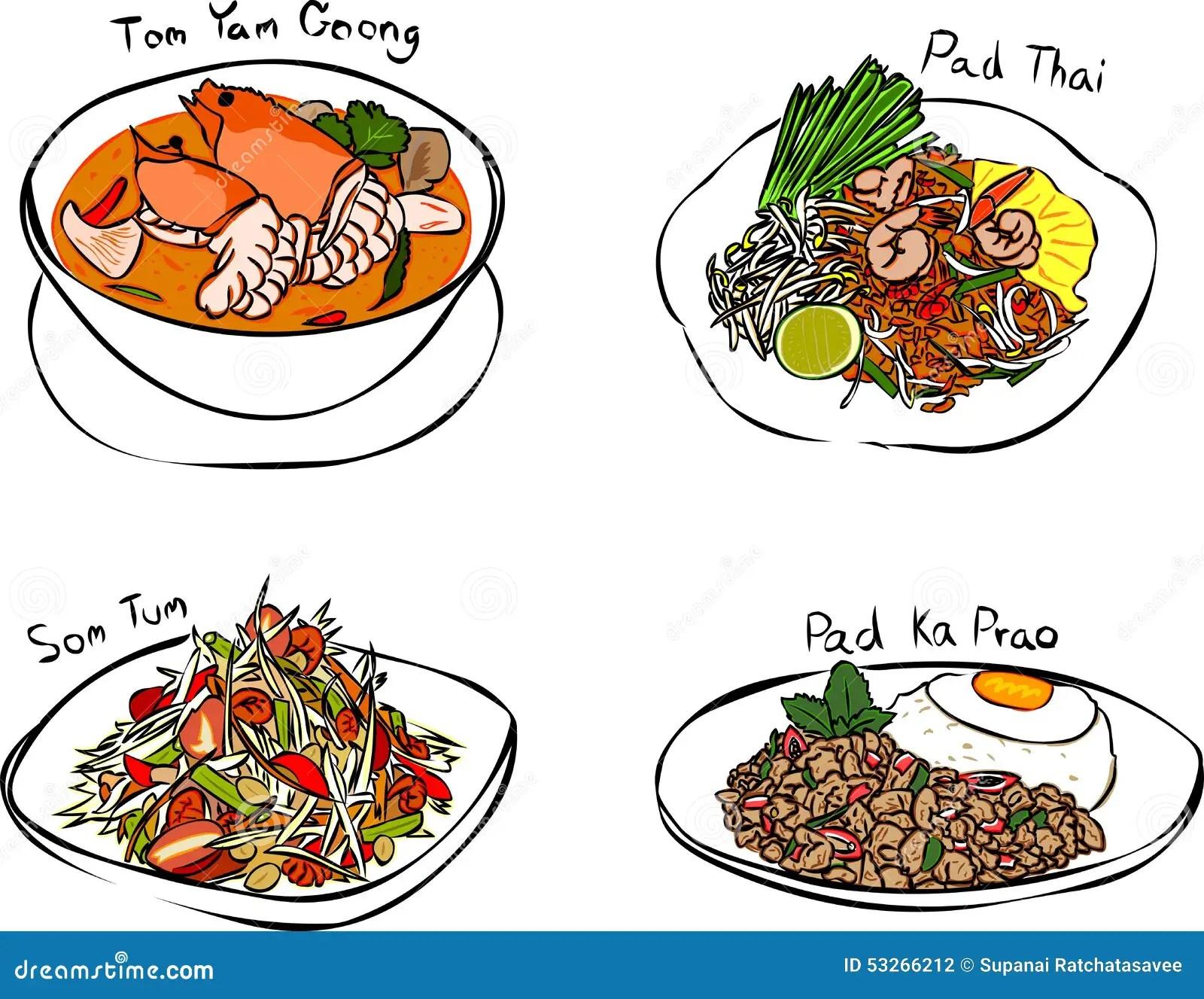 Thai Foods Stock Vector Illustration Of Salad Hand