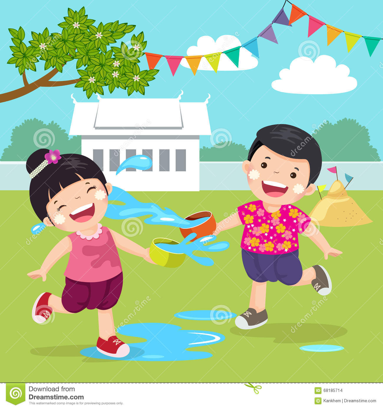 Thai Kids Splashing Water In Songkran Festival At The Temple Stock Vector