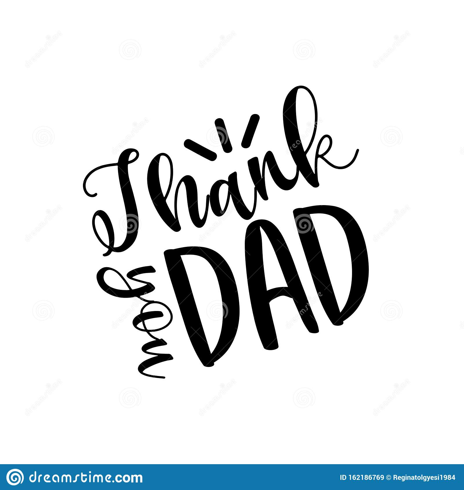 Thank You Dad Positive Text For Fathers Stock Vector