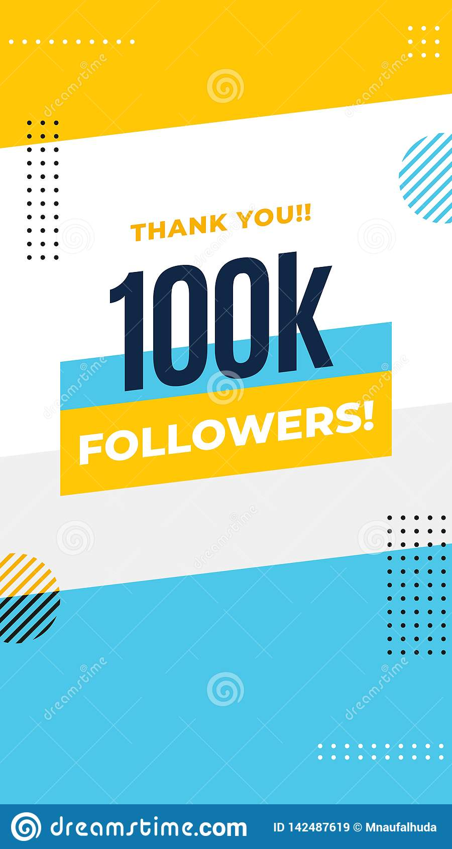Thank You 100k Followers Story Post Background Template