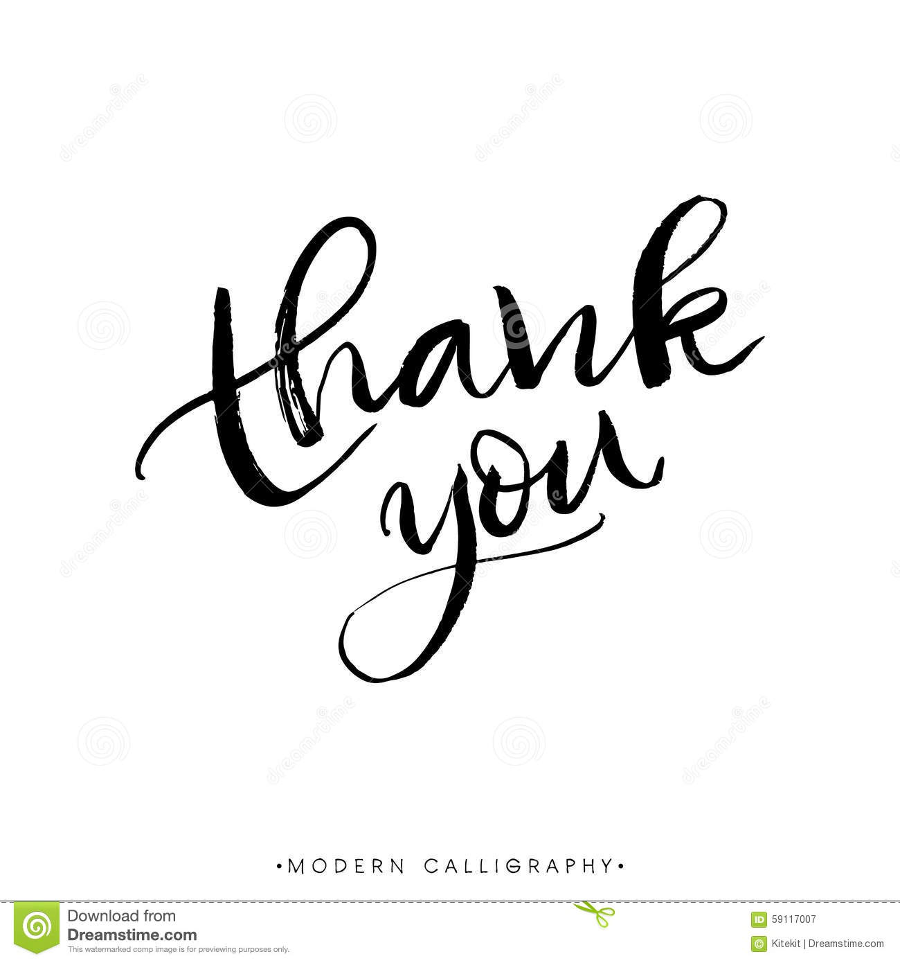 Thank You Modern Brush Calligraphy Handwritten Ink