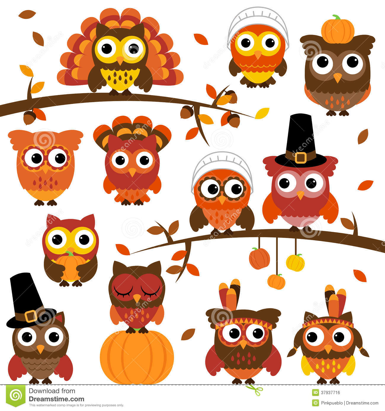 Thanksgiving And Autumn Themed Vector Owl Collection
