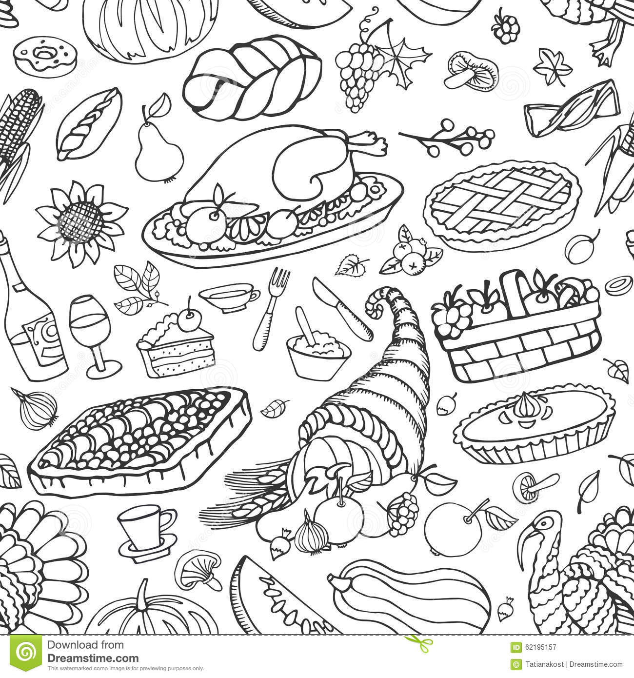 Thanksgiving Day Doodle Icons Seamless Pattern Stock