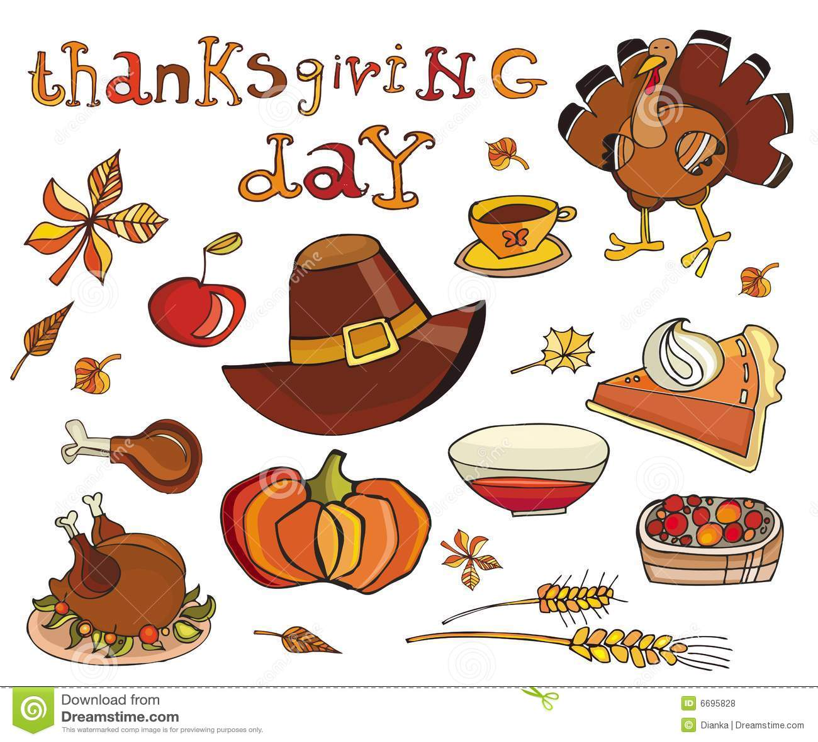 Thanksgiving Day Icon Set Royalty Free Stock Photos