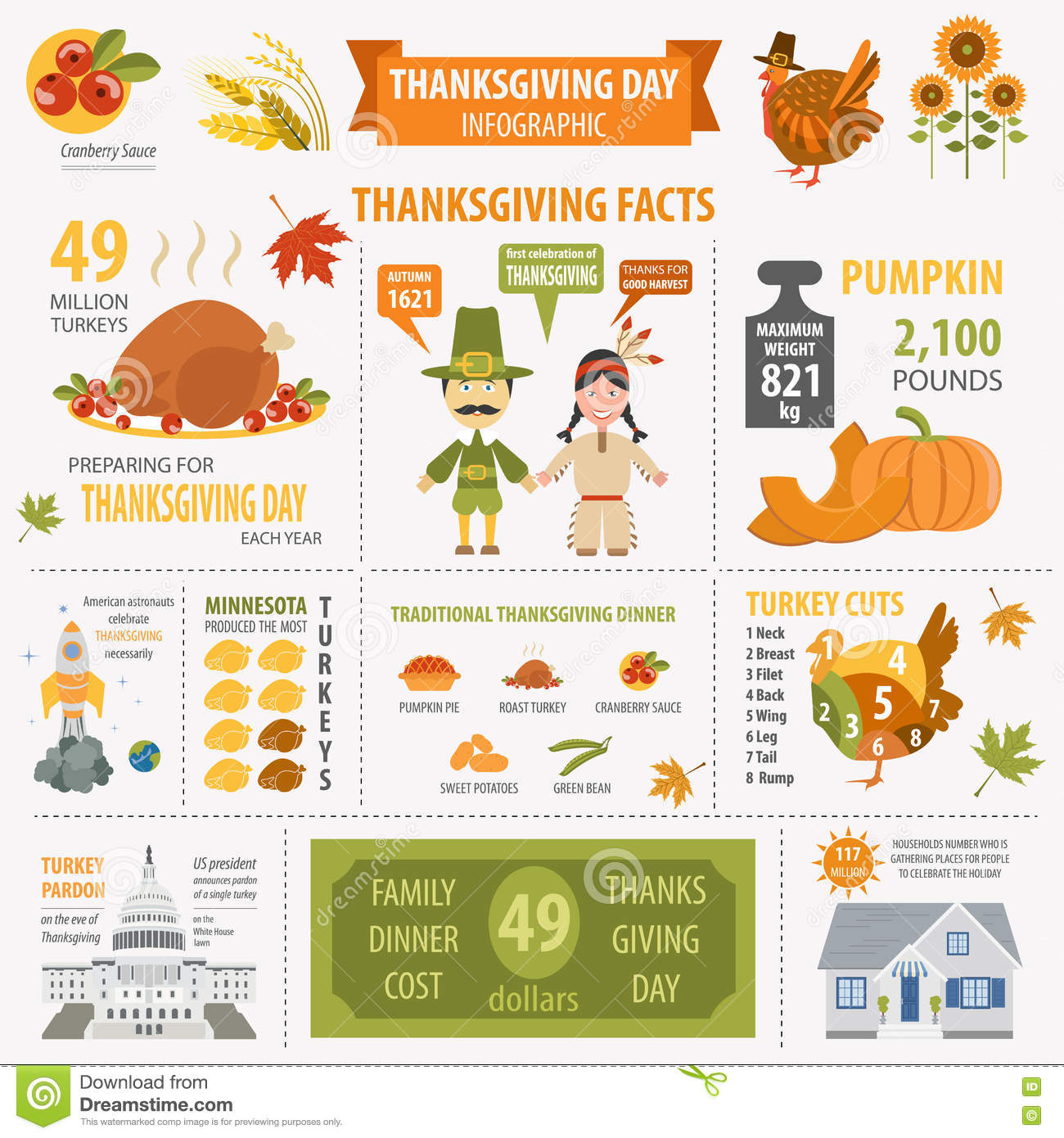 Thanksgiving Day Interesting Facts In Infographic