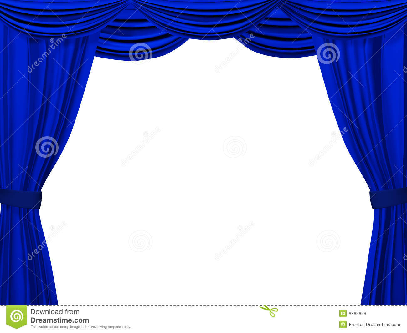 Theatrical Curtain Of Blue Color Stock Illustration