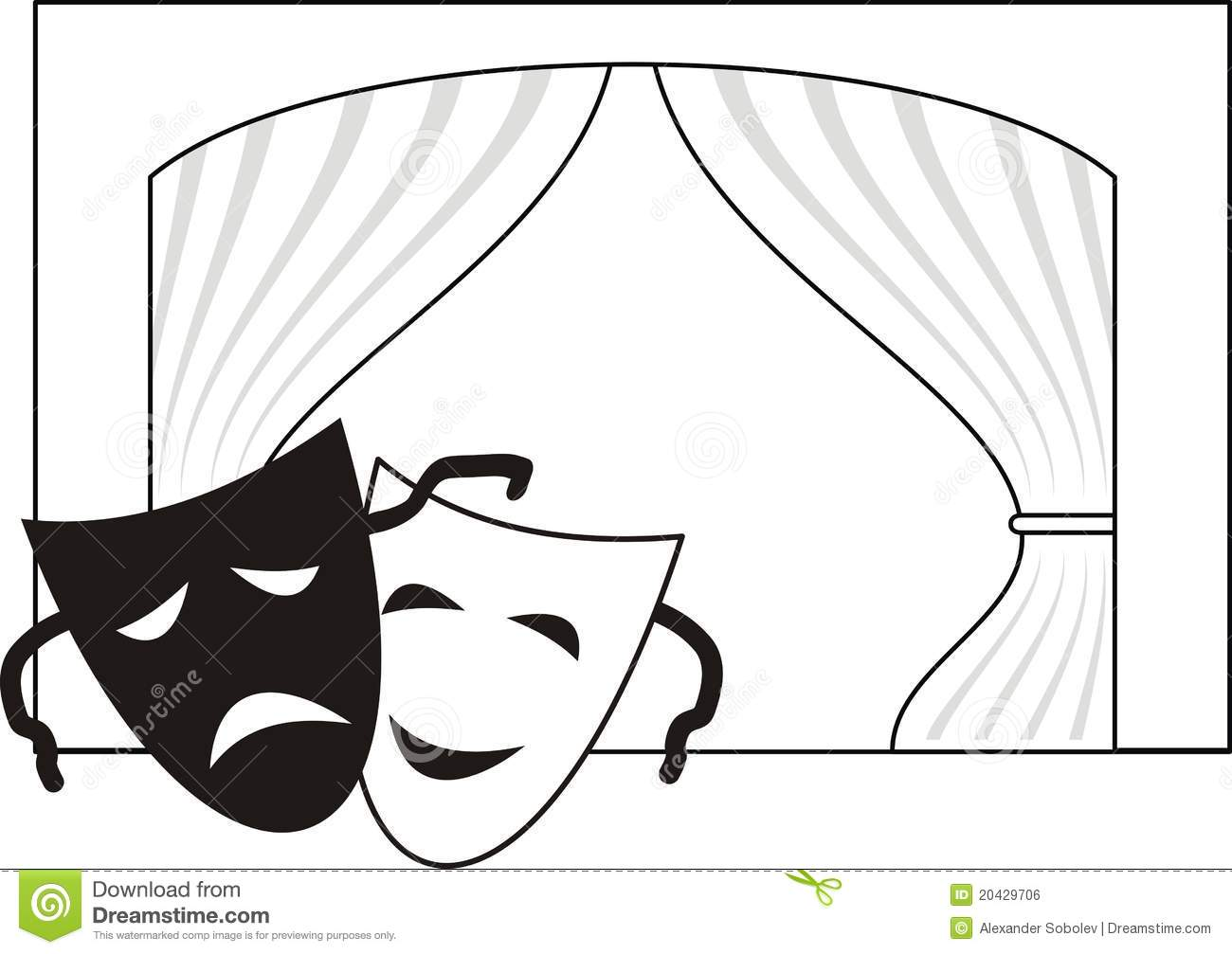 Theatrical Masks Scene Curtain Stock Vector