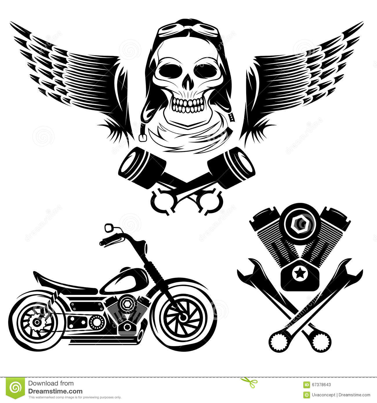 Theme Labels With Motorbike Skull Engine And Pistons Stock