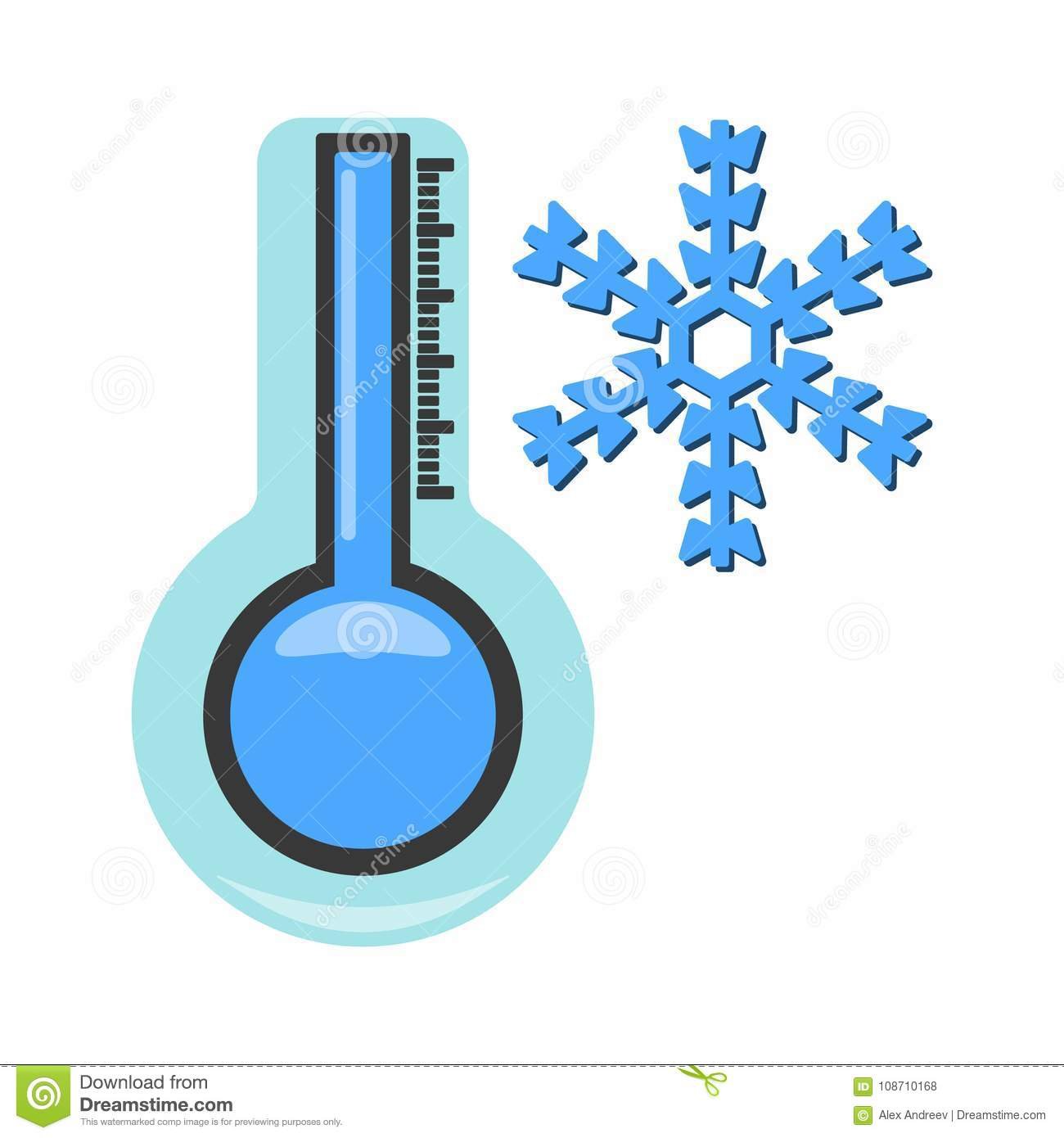 Thermometer With Cold Icon Weather Label For Web On White