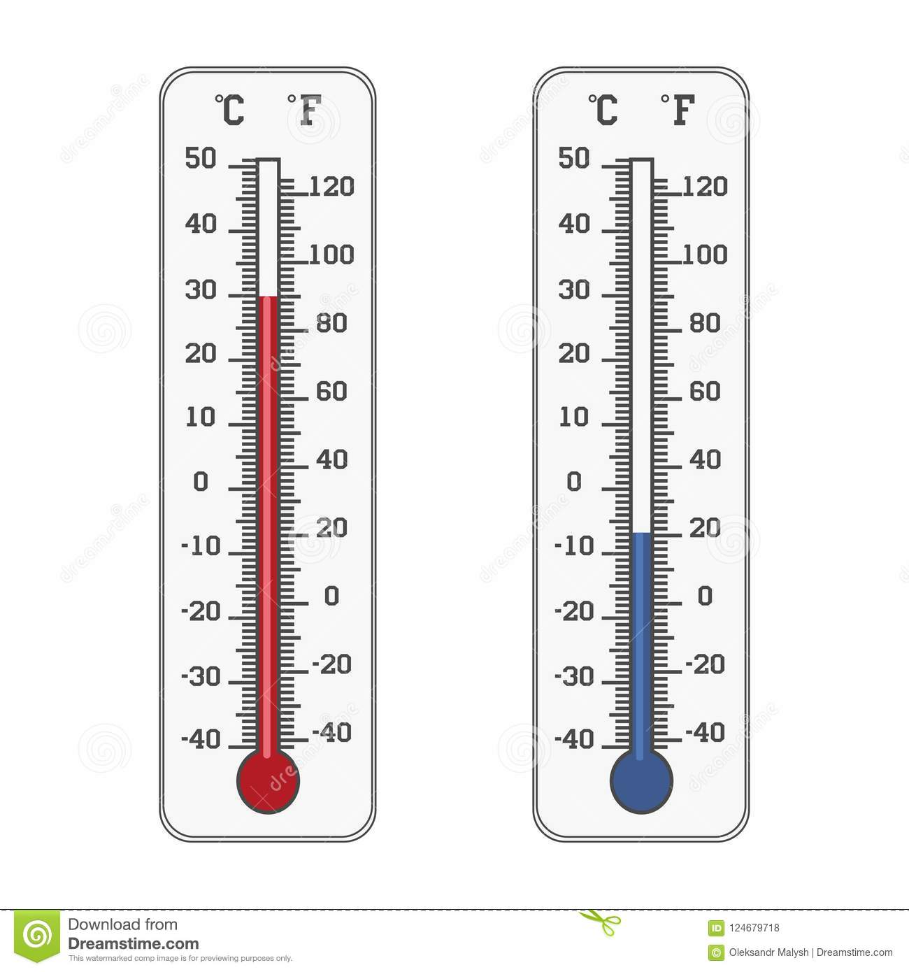 Thermometer Icon Celsius And Fahrenheit Measuring Hot And