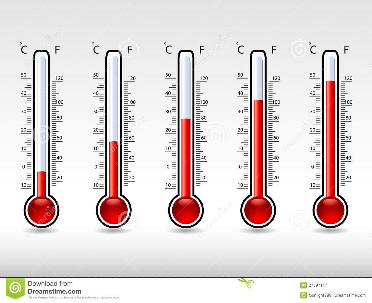 Thermometers At Different Levels Royalty Free Stock