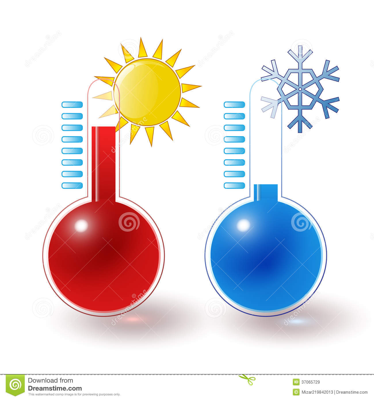 Thermometers Hot Cold Set Stock Illustration Illustration