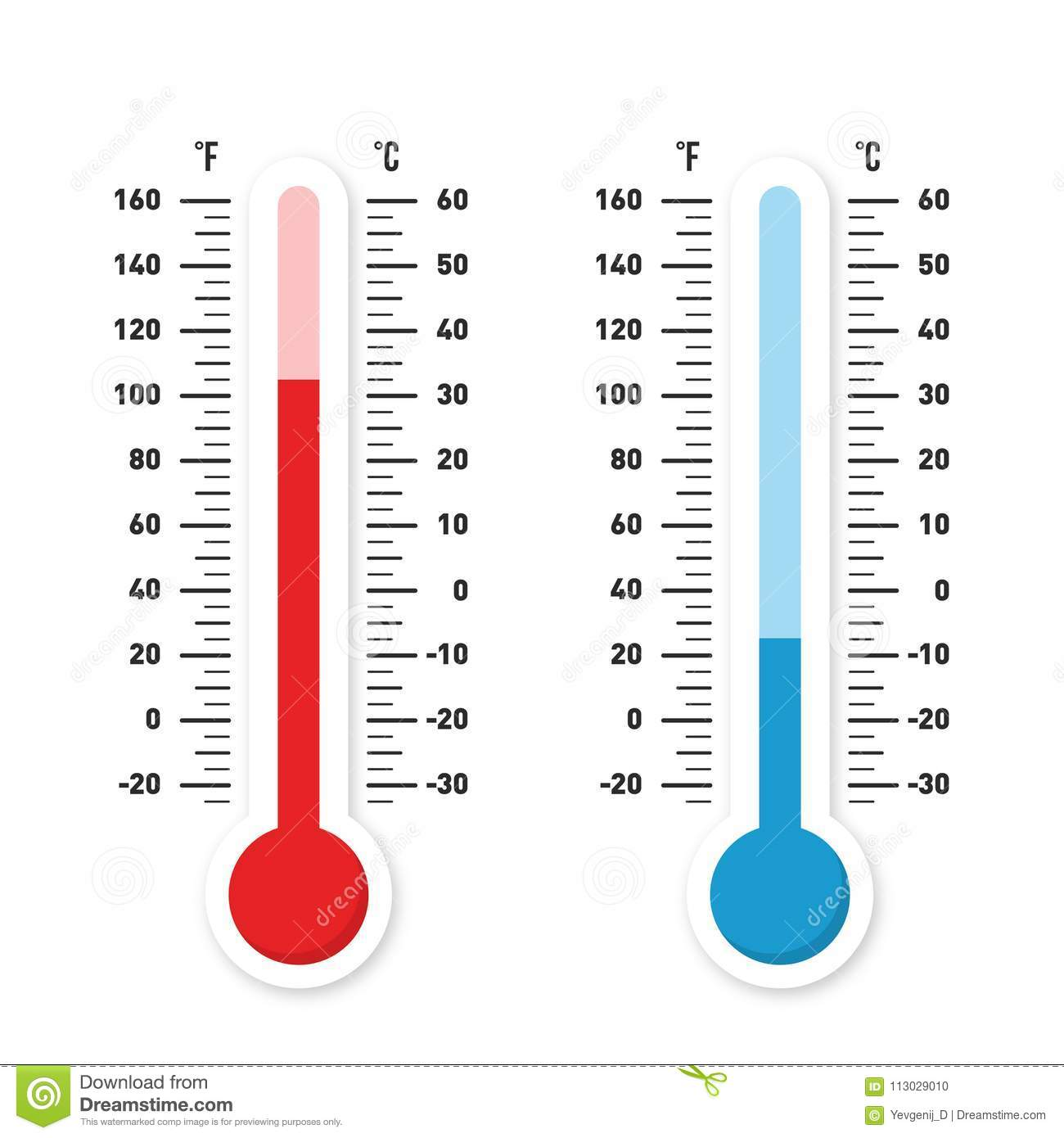 Thermometers Measuring Heat And Cold Temperature Red And