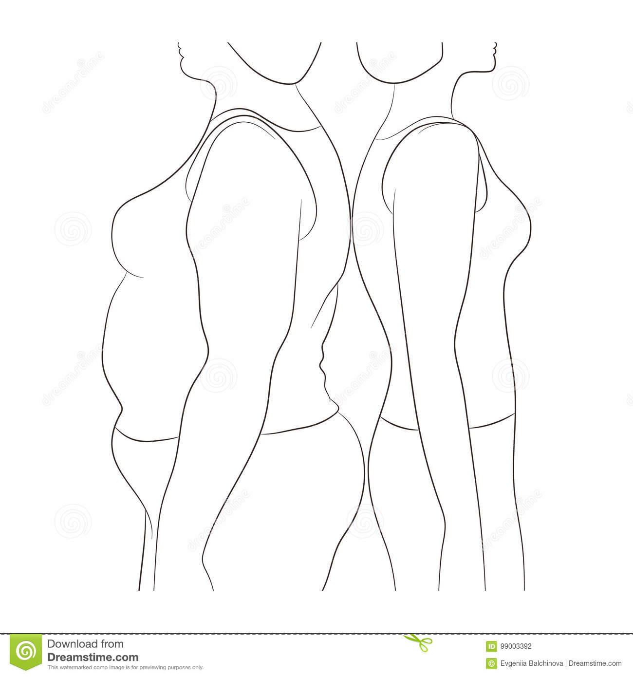 Thick And Thin Overweight Problem Concept Stock Vector