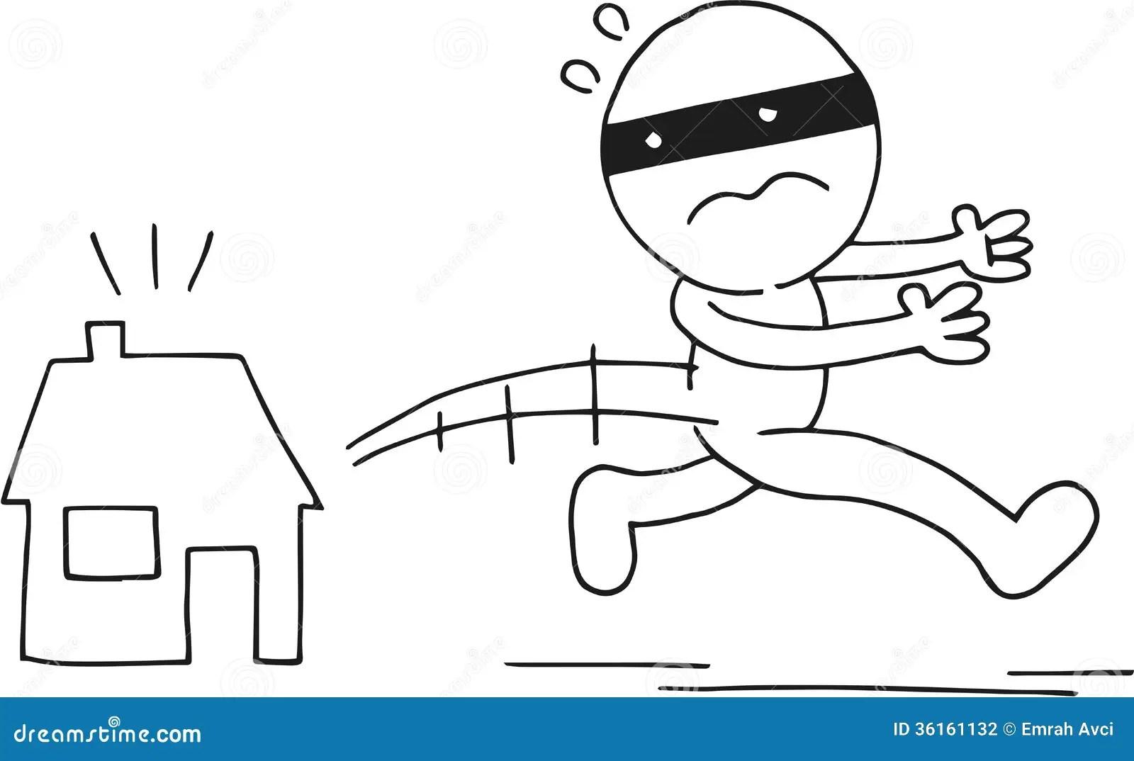 Thief Running Away Stock Illustration Illustration Of
