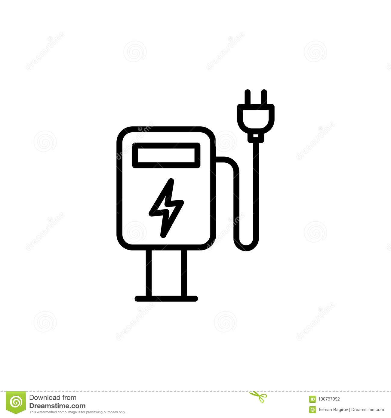 Thin Line Electric Car Charge Station Icon Stock