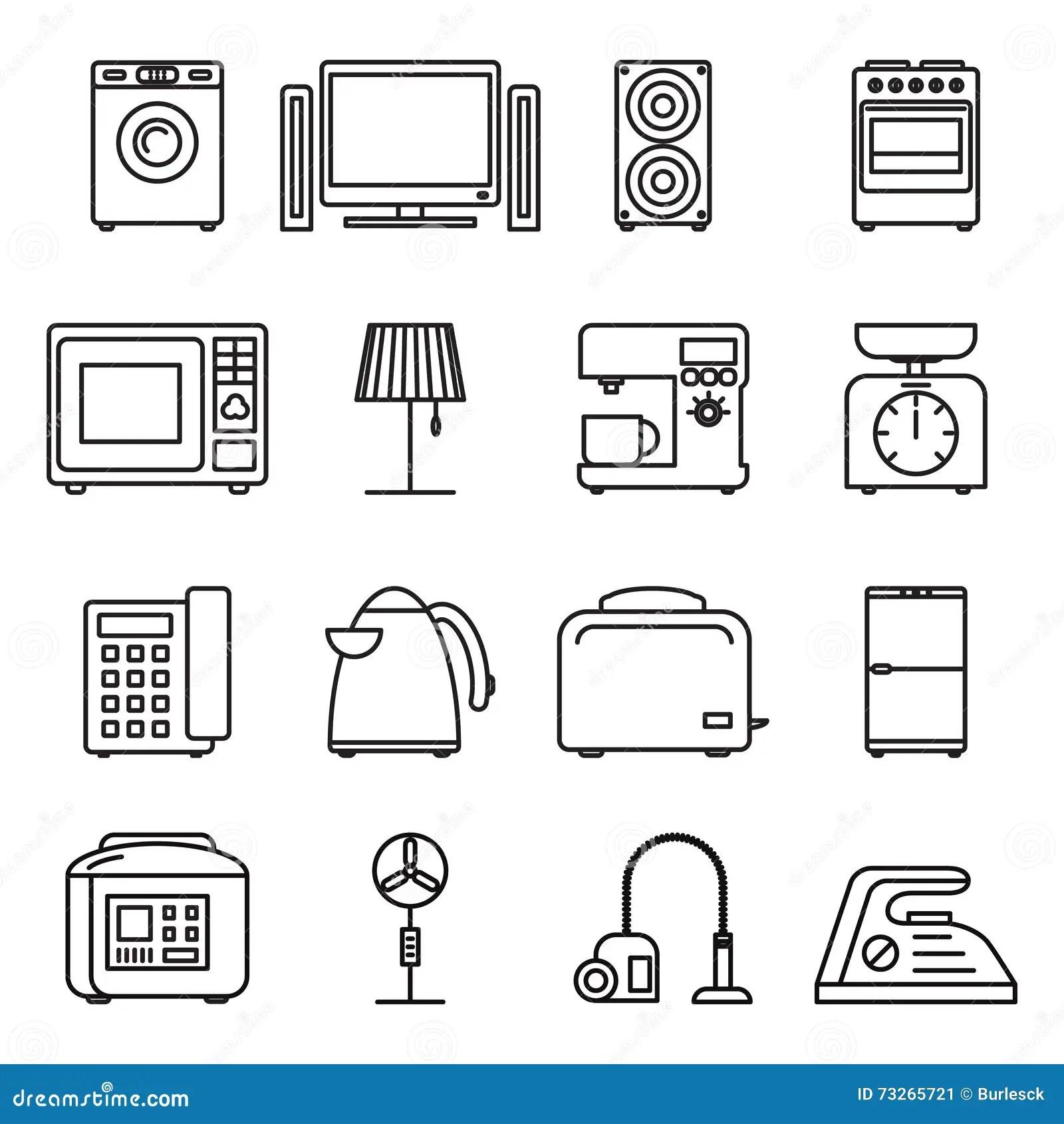 Vector Line Household Appliances Icon Set Design Vector