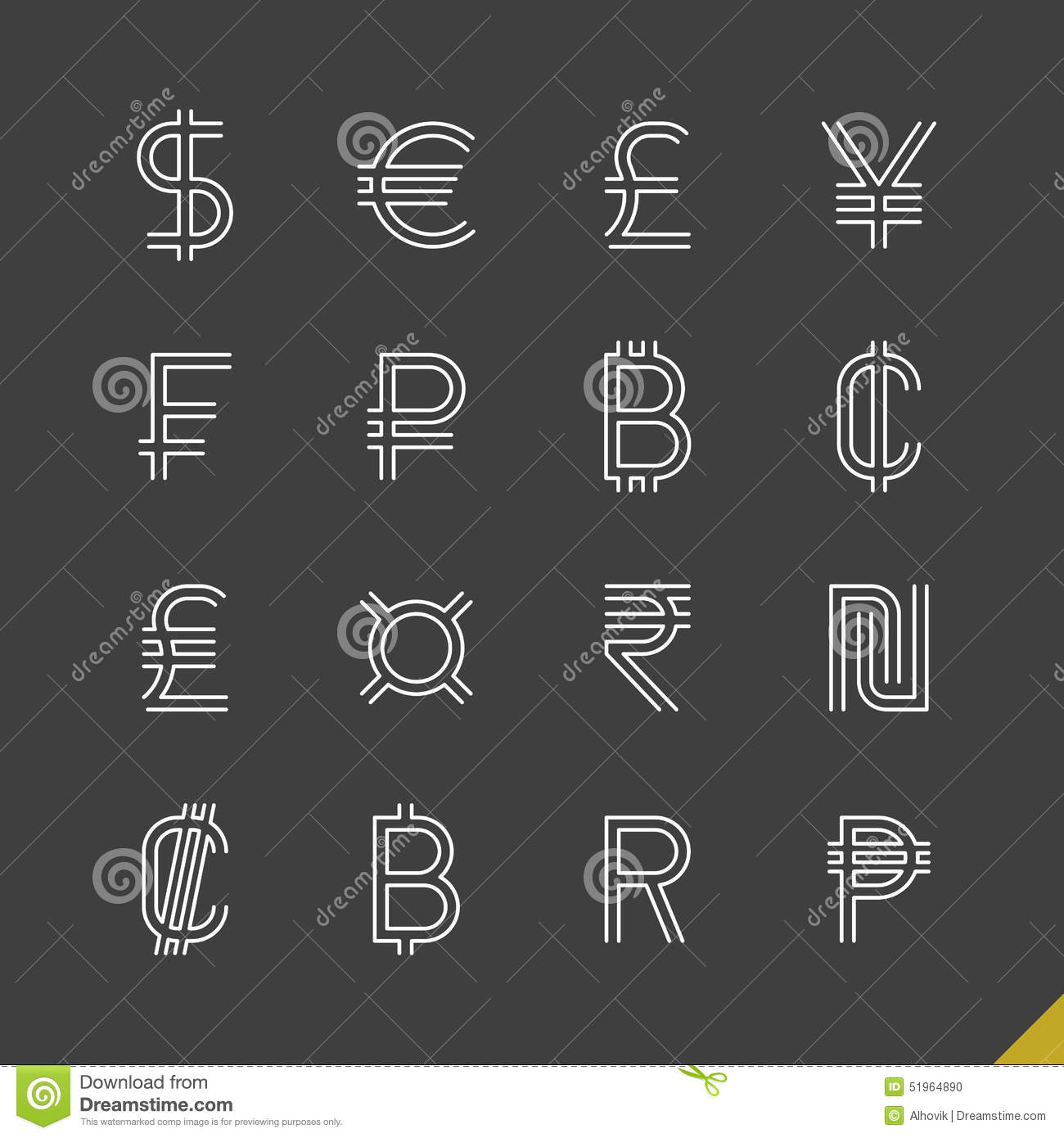 Thin Linear World Currency Symbols Icons Stock Vector