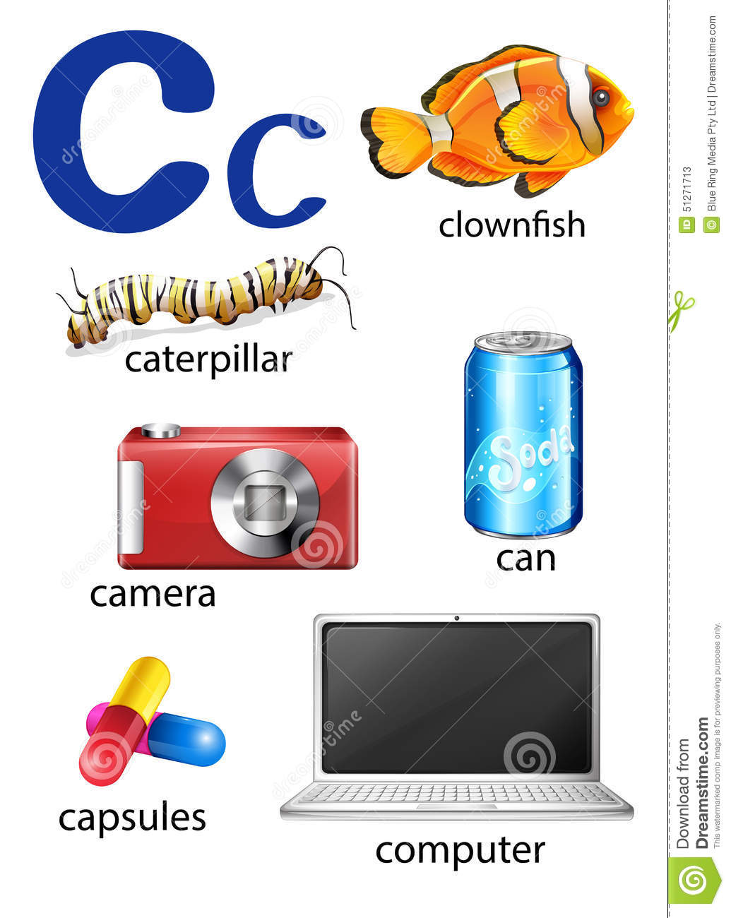 Things That Start With The Letter C Stock Vector